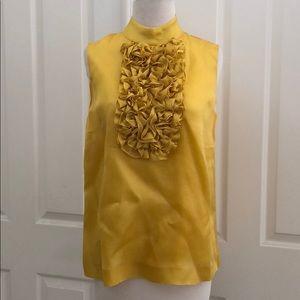 KATE SPADE Sleeveless Yellow Ruffle Blouse